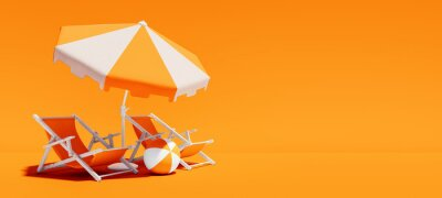 Sticker Two beach chairs with parasol on lush orange summer background 3D Rendering