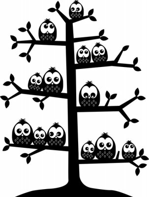 Sticker Un arbre plein de hiboux