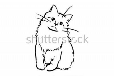 Sticker Un chaton assis. Croquis de vecteur noir et blanc. Dessin simple sur fond blanc.