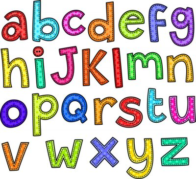 Sticker Un doodle style de point un ensemble de lettres de l'alphabet dessinés à la main.
