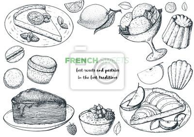 Sticker Un ensemble de desserts français avec tarte au citron, faux gâteau de crêpe, crème brûlée, tarte aux pommes, canele, macarons. Vue de dessus de cuisine française. Modèle de conception de menu alimenta