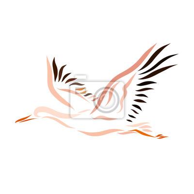 Sticker Un Oiseau Qui Vole Une Cigogne