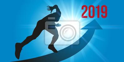Un sprinteur en direction de l'horizon 2019, sur une piste en forme de flèche, sur un rayon de soleil, symbole de son énergie et de sa motivation.