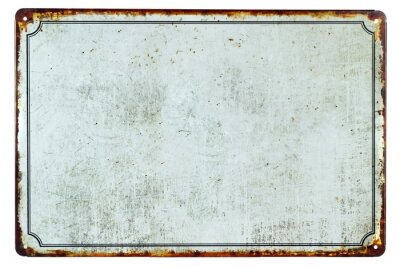 Sticker Un vieux panneau blanc en métal rouillé avec un fond d'espace de copie pour votre texte