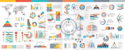 Sticker Une collection d'éléments infographiques Illustration dans un style plat