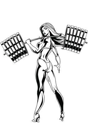 Sticker Une fille forte avec une barre lourde