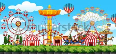 Sticker Une illustration de scène de parc à thème