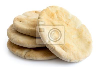 Sticker Une pile de pains pita isolé sur blanc d'en haut.