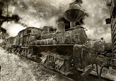 Sticker Une vieille locomotive à vapeur d'époque rouille