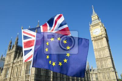 Sticker Union européenne, drapeau, Union, drapeau, voler, devant, grand, Ben, Westminster, palais, londres, préparation, brexit, UE, référendum