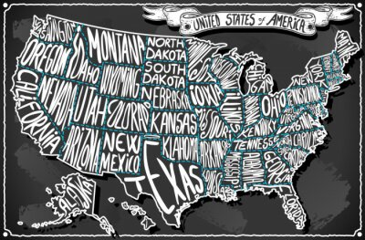 Sticker United States of America on Vintage Handwriting BlackBoard