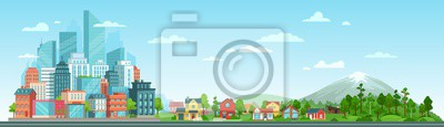 Sticker Urban and nature landscape. Modern city buildings, suburban houses and wild forest vector illustration. Contemporary metropolis with skyscrapers, suburbs with cottages and woods panorama