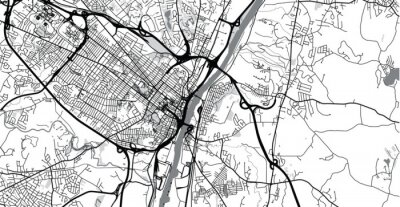 Sticker Urban vector city map of Albany, USA. New York state capital