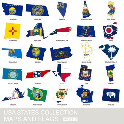 Sticker USA État collecte, cartes et drapeaux