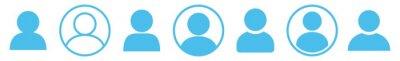 Sticker User Icon Blue | Avatar Illustration | Client Symbol | Member Profile Logo | Login Head Sign | Isolated | Variations