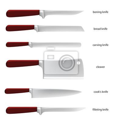 Ustensiles De Cuisine Ensemble De Couteaux Avec Des Noms De