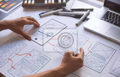 Sticker ux Graphic designer creative  sketch planning application process development prototype wireframe for web mobile phone . User experience concept.