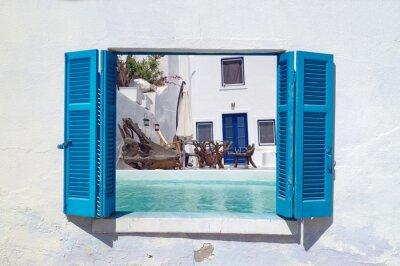Sticker Vacances romantiques sur l'île de Santorin, en Grèce