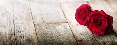 Sticker Valentines Card - Lumière du soleil sur deux roses dans l'amour