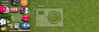 Sticker Various Sport Equipments On Grass