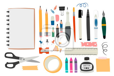 Sticker Various tools for drawing or sketching. Hand drawn big vector set. Sketchbook, crayons, pencil, eraser, pen, marker, ruler, scissors, ink, etc. Colored trendy illustration. All elements are isolated