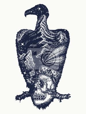 Vautour Tatouage Art Crane Indien Et Montagnes Symbole De La