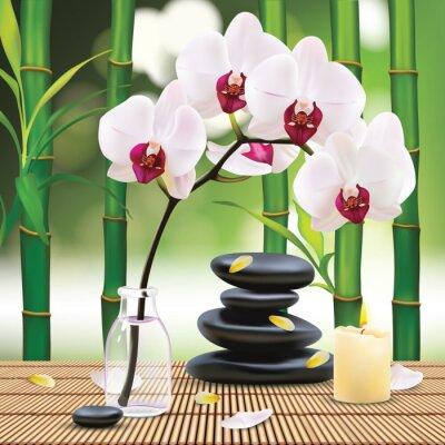 Sticker Vecteur Belle Spa Composition Avec Zen Pierres