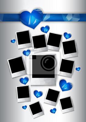 Vecteur cadres photo avec des coeurs bleus pour les couples amoureux