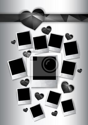 Vecteur cadres photo avec des coeurs noirs