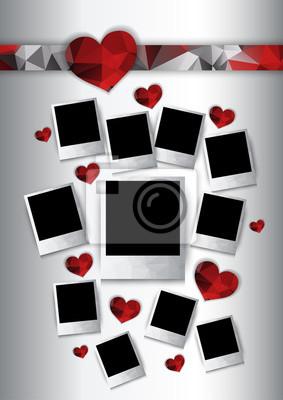 Vecteur cadres photo avec des coeurs rouges