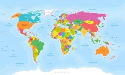 Sticker Vecteur carte du monde. Étiquettes anglaises / américaines