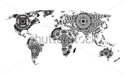 Sticker Vecteur carte monde mandala