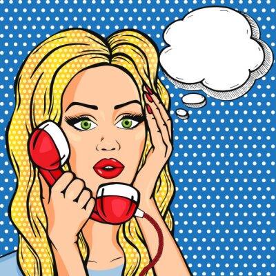 Sticker Vecteur choqué, femme, téléphone, pensée, bulle, vecteur, pop art, comique, style