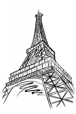 Sticker Vecteur, croquis, tour Eiffel, Paris, france.
