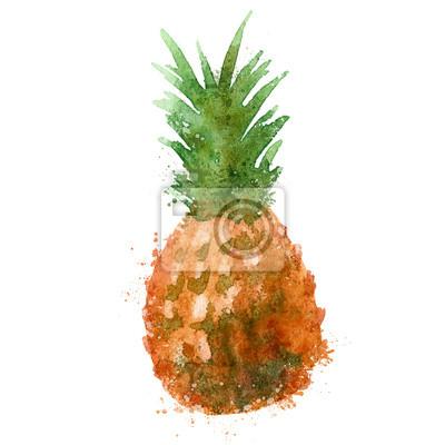 vecteur d'ananas de modèle de conception de logo. alimentaire ou aquarelle icône.