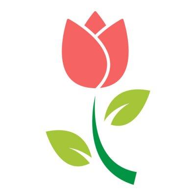 Sticker vecteur d'icône fleur tulipe