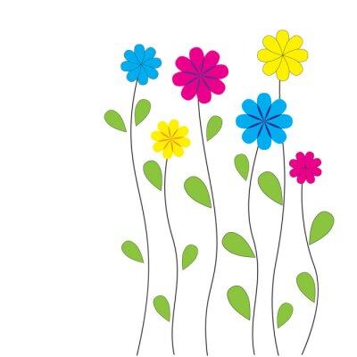 Sticker Vecteur de fond floral avec des coeurs