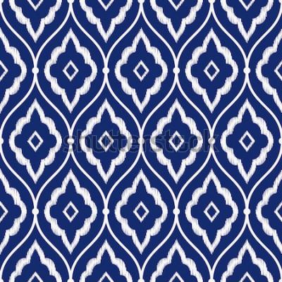Sticker Vecteur de modèle d'ikat persan vintage porcelaine transparente bleu et blanc indigo