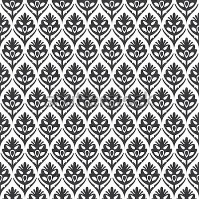 Sticker Vecteur de modèle médiéval ogee floral vintage sans couture noir et blanc