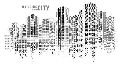 Sticker Vecteur de ville abstraite, paysage de ville transparente, bâtiment de points dans la ville de nuit