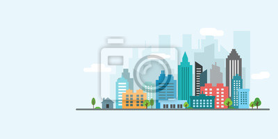 Sticker vecteur de ville paysage