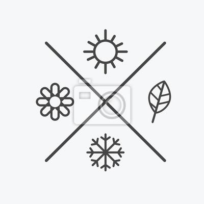 Sticker Vecteur défini quatre icônes de saisons. les saisons hiver printemps été automne. Style plat, éléments de lignes simples. Prévisions météorologiques. soleil, fleur, flocon de neige, symboles de feuill