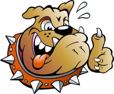 Sticker Vecteur, dessin animé, Illustration, excité, taureau, chien, Donner, pouce