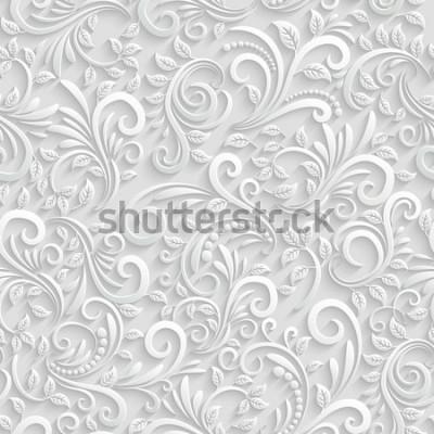Sticker Vecteur Floral 3d sans soudure de fond. Pour la décoration de cartes de Noël et d'invitations