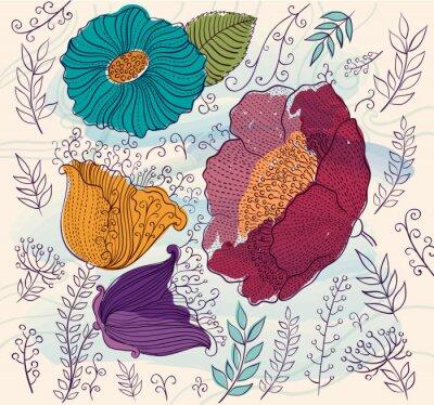Sticker Vecteur, fond, beau, coloré, fleurs, feuilles