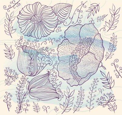 Sticker Vecteur, fond, beau, fleurs, feuilles