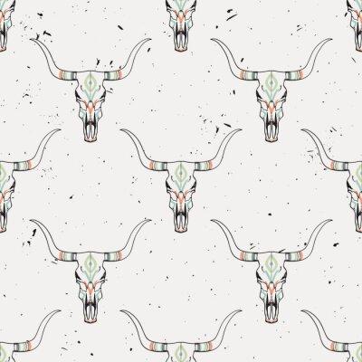 Sticker Vecteur, grunge, seamless, modèle, taureau, crâne, ethnique, ornement