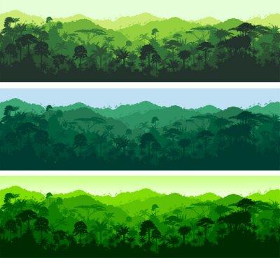 Sticker Vecteur, horizontal, seamless, tropical, rainforest, jungle, fond