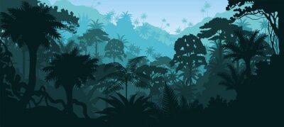 Sticker Vecteur, horizontal, tropical, forêt tropicale, jungle, fond