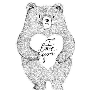 Sticker Vecteur, Illustration, adorable, mignon, ours